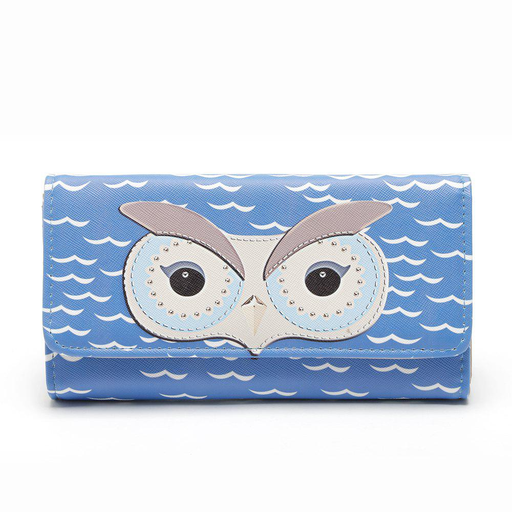 Popular Cartoon Cute Owl Wallet Women Fashion Korean Girls Long Purse Carteras Gift - BLUE