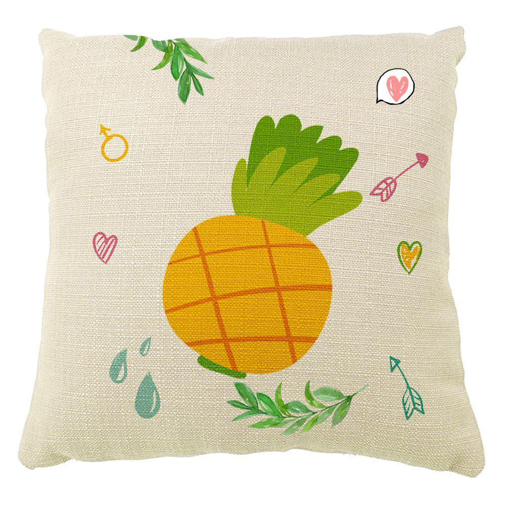Mode simple peint à la main ananas Cartoon Home Decor petits taies d'oreiller en lin frais coton - multicolorcolore 16INCH X16INCH