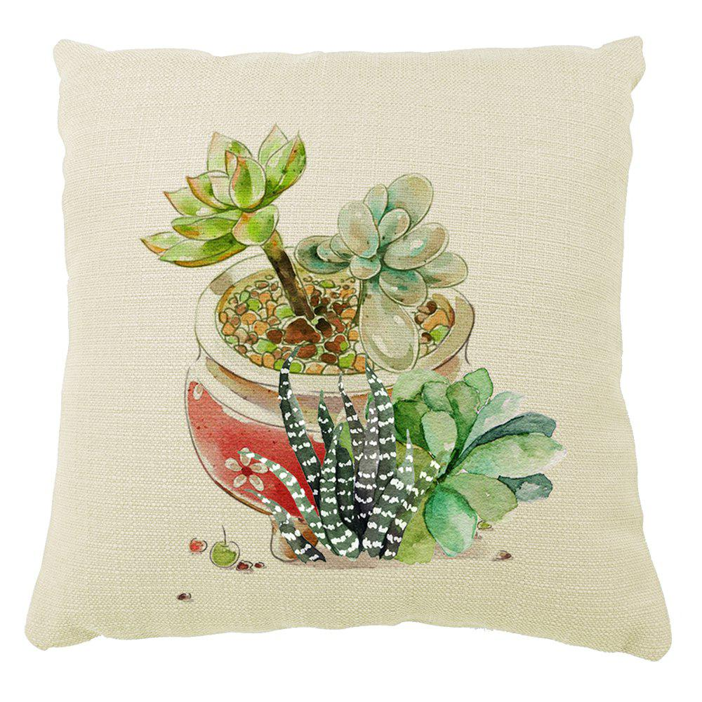 Green Plants  Potted Succulents Hand Painted Creative Home Decoration Cotton Linen Pillowcase - COLORMIX 16INCH X16INCH
