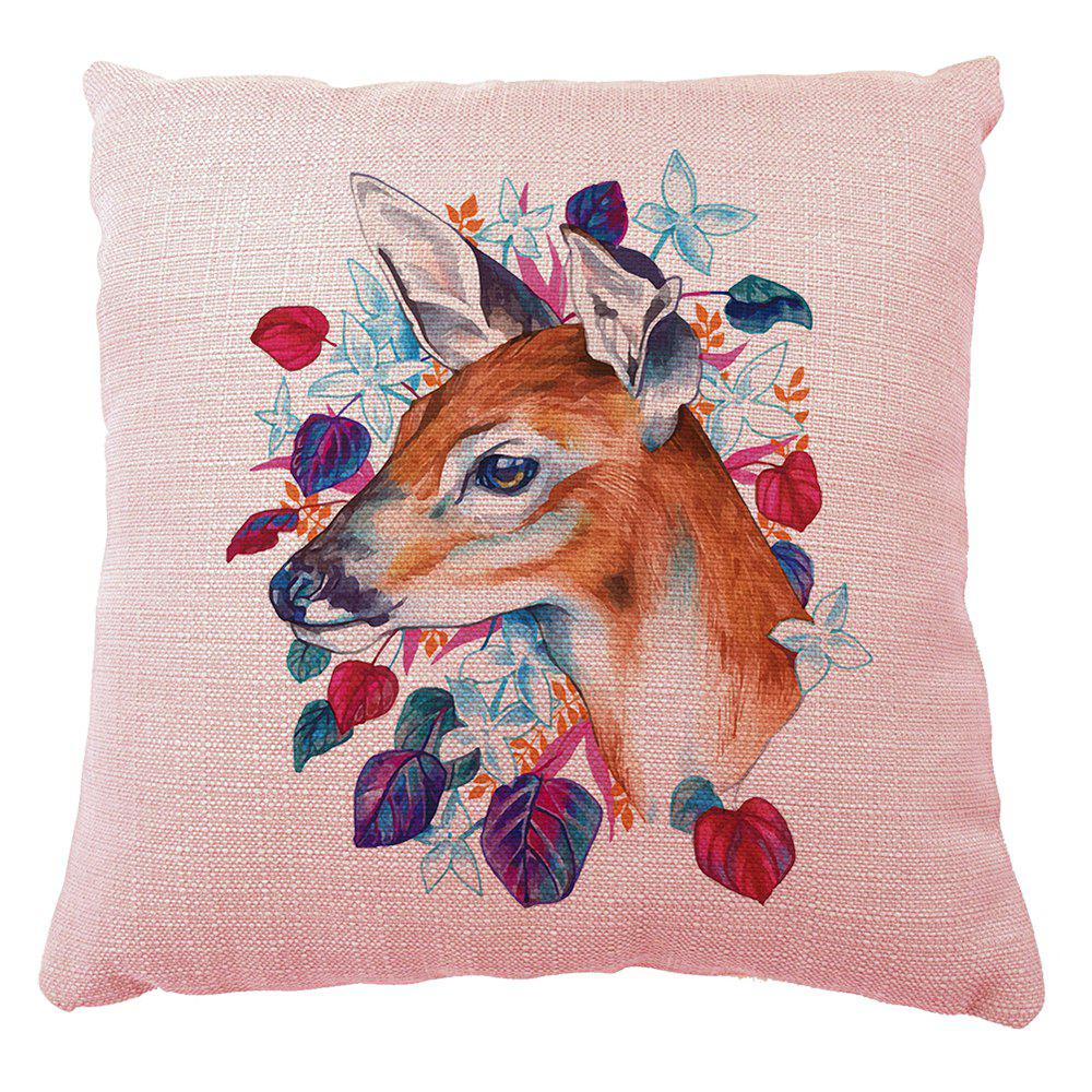 Secret Garden Hand Painted Cartoon Deer Household Cotton Linen Cushion Cover Decoration - COLORMIX 16INCH X16INCH