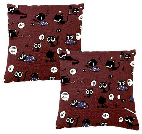 Cartoon Image Hand Painted Cat Pattern Happy Life Home Decorative Pillow Case - COLORMIX 16INCH X16INCH