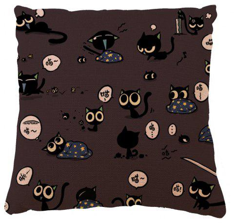 Cartoon Cat Pattern Happy Day Home Decoration Pillow Case - COLORMIX 16INCH X16INCH