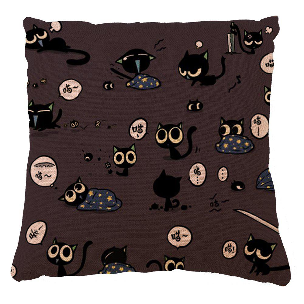 Motif de chat de bande dessinée Taie d'oreiller de décoration de maison Happy Day - multicolorcolore 16INCH X16INCH