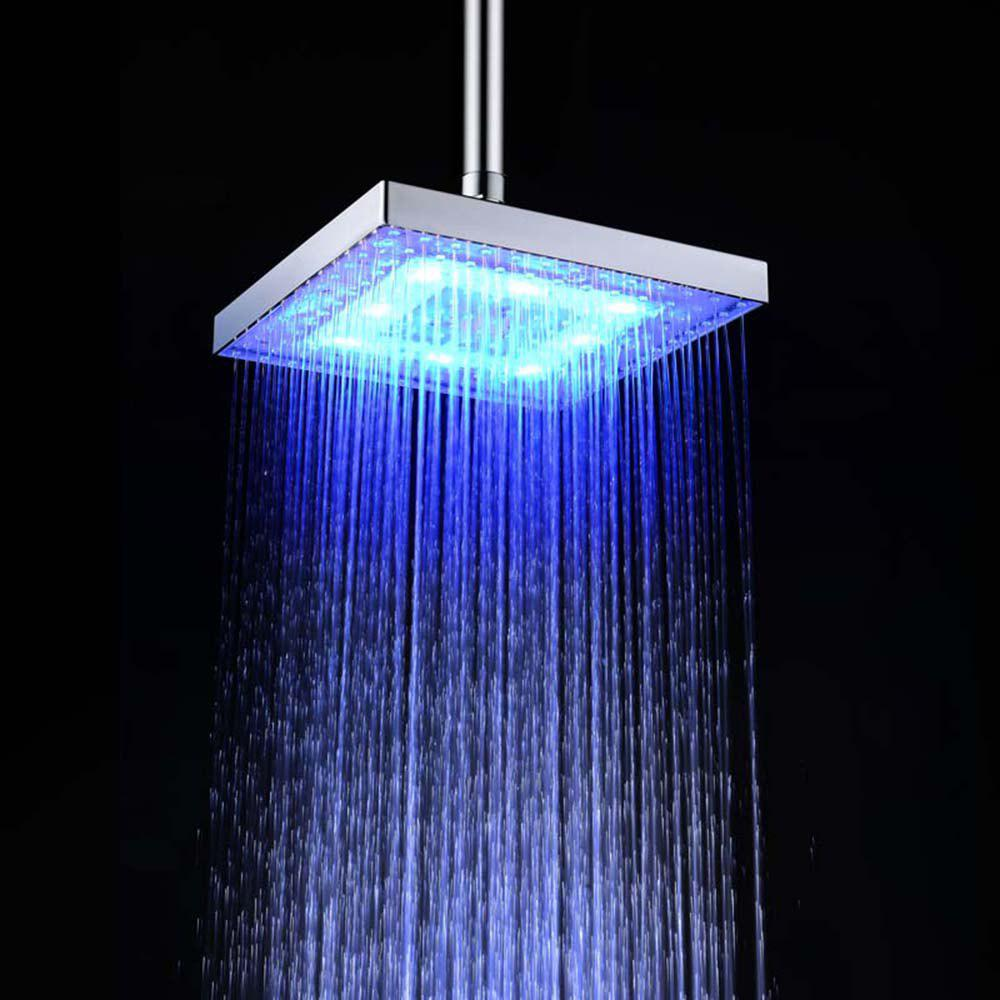 BRELONG 8 - inch LED Monochrome Shower Top Spout  Red Green Blue - BLUE