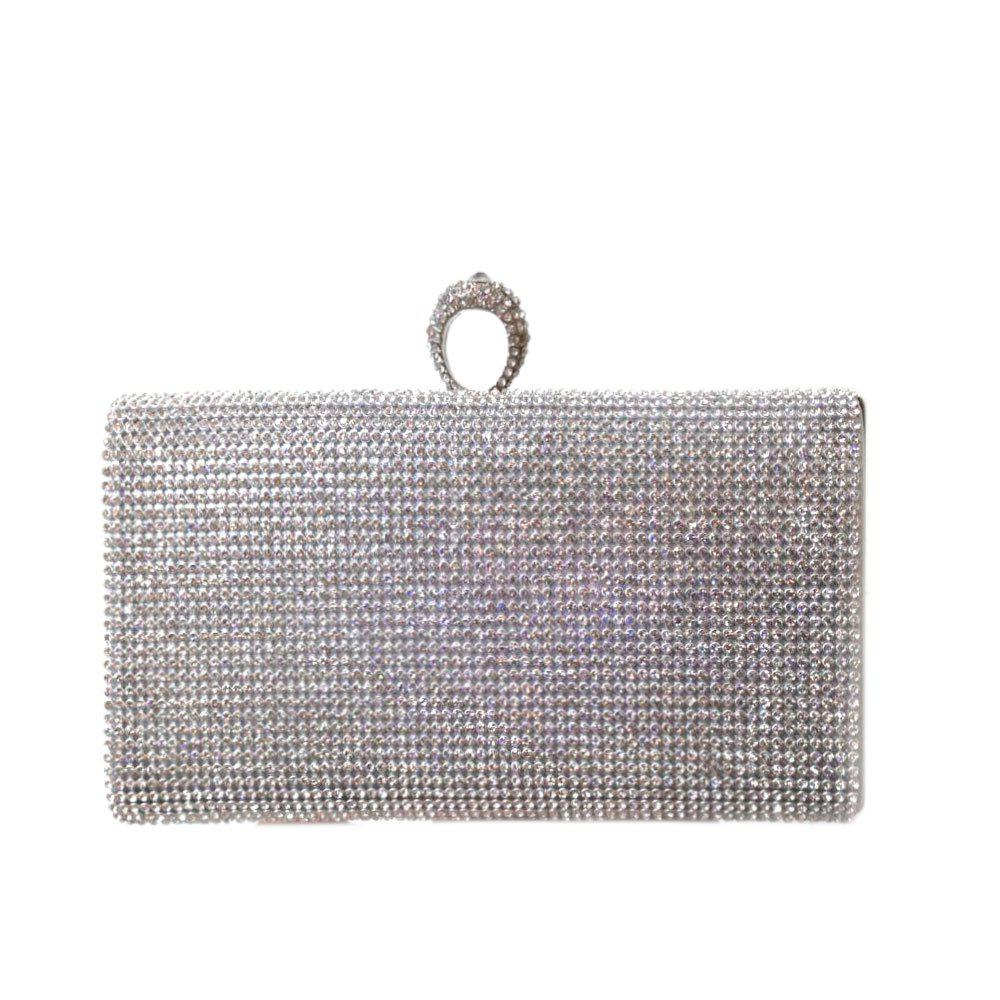 Women Evening Bag Rhinestone Sparkling Glitter Wedding Event Party - SILVER