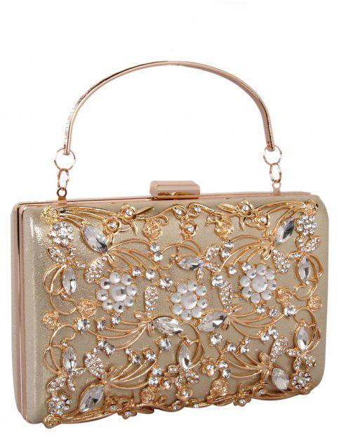 Women Bags PU Metal Poly urethane Evening Bag Crystal Rhinestone Metallic Wedding Event Party - GOLDEN