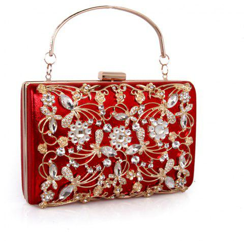 Women Bags PU Metal Poly urethane Evening Bag Crystal Rhinestone Metallic Wedding Event Party - RED