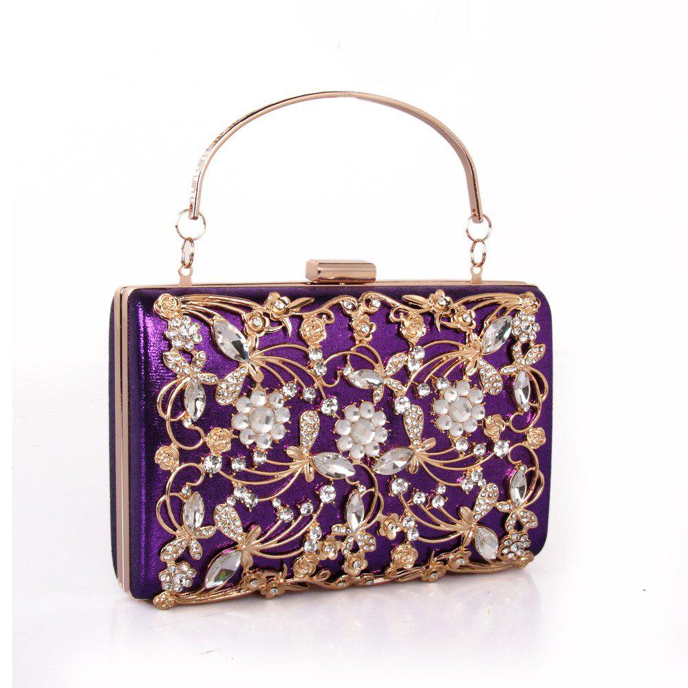 Women Bags PU Metal Poly urethane Evening Bag Crystal Rhinestone Metallic Wedding Event Party - PURPLE