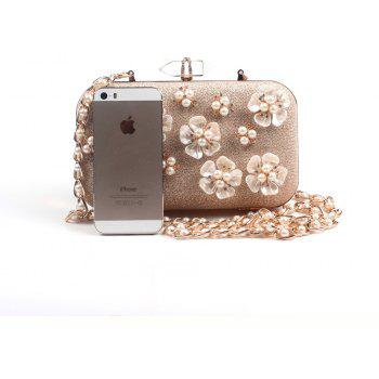 Women Bags leatherette Evening Bag Appliques Buttons Flowers Pearl Detailing Wedding Event Party - GOLDEN