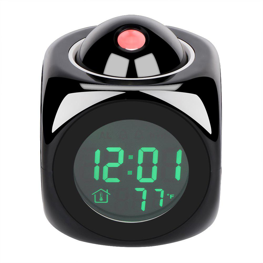 LCD Display Digital Projection Voice Alarm Clock Support Backlight Snooze Function Cube LED Desk Clock - BLACK