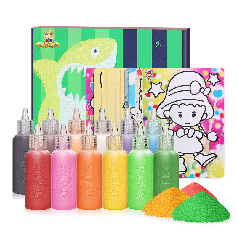 12 Colors Sand Drawing Set Kids DIY Puzzle Handmade Early Education Art Toy - COLORMIX
