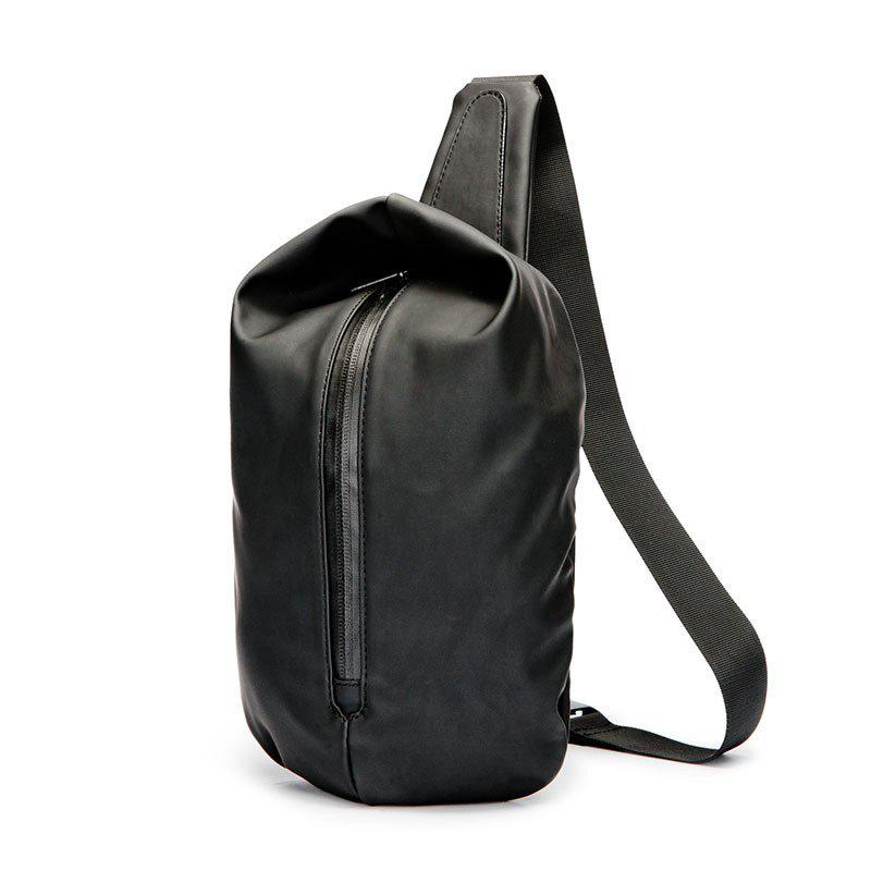 Korean Fashion Waist Pack Men Nylon Unbalance Backpack Sports Waterproof Chest Sling Bag - BLACK