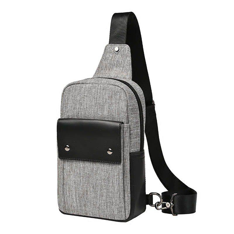 Men Small Crossbody Bag Fashion Canvas Unbalance Backpack Outdoor Cycling Sling Walst Pack - GRAY