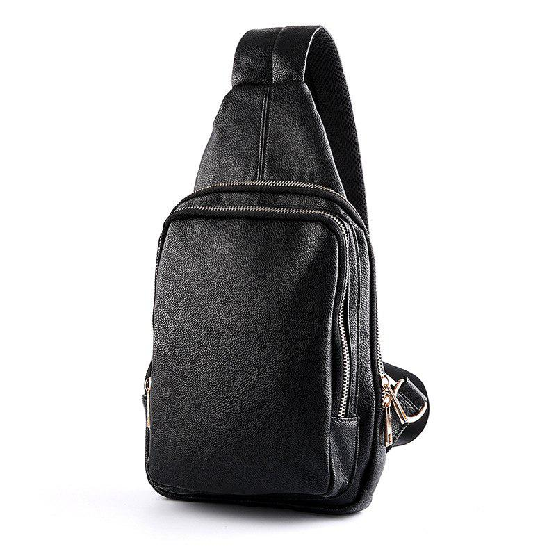 New Chest Pack Korean Fashion Unbalance Backpack Casual Single Shoulder Bag - BLACK