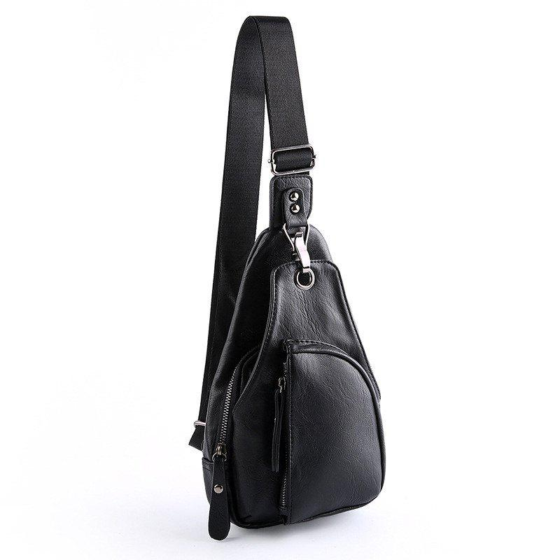 New Men Crossbody Bag Korean Single Shoulder Unbalance Backpack Small Sling Bag - BLACK