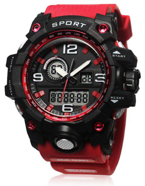 LED Multi-Functional Outdoor Waterproof Sports Watch - RED