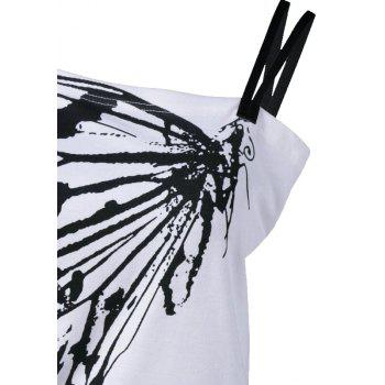 Women Skew Collar Butterfly Print Tshirt - WHITE S
