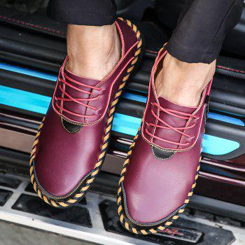 ZEACAVA Men's Stitching Soft Sole Breathable Casual Lace Up Leather Driving Shoes - WINE RED 42