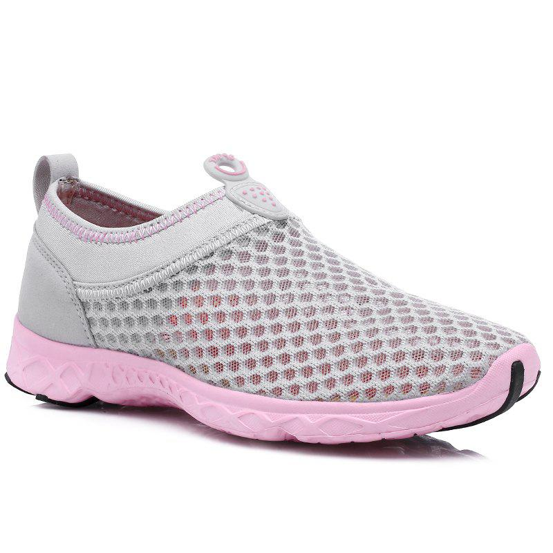 Women Weave Breathable Mesh Running Shoes - GRAY/RED 38