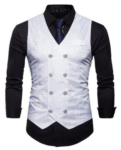 Men Suit Vest Burgundy Jacquard V Neck Sleeveless Jacket Front Button Waistcoat - WHITE M