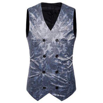 Men Suit Vest Burgundy Jacquard V Neck Sleeveless Jacket Front Button Waistcoat - LIGHT GRAY L