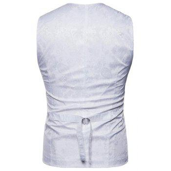 Men Suit Vest Burgundy Jacquard V Neck Sleeveless Jacket Front Button Waistcoat - WHITE S