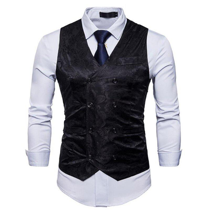 Men Suit Vest Burgundy Jacquard V Neck Sleeveless Jacket Front Button Waistcoat - BLACK L
