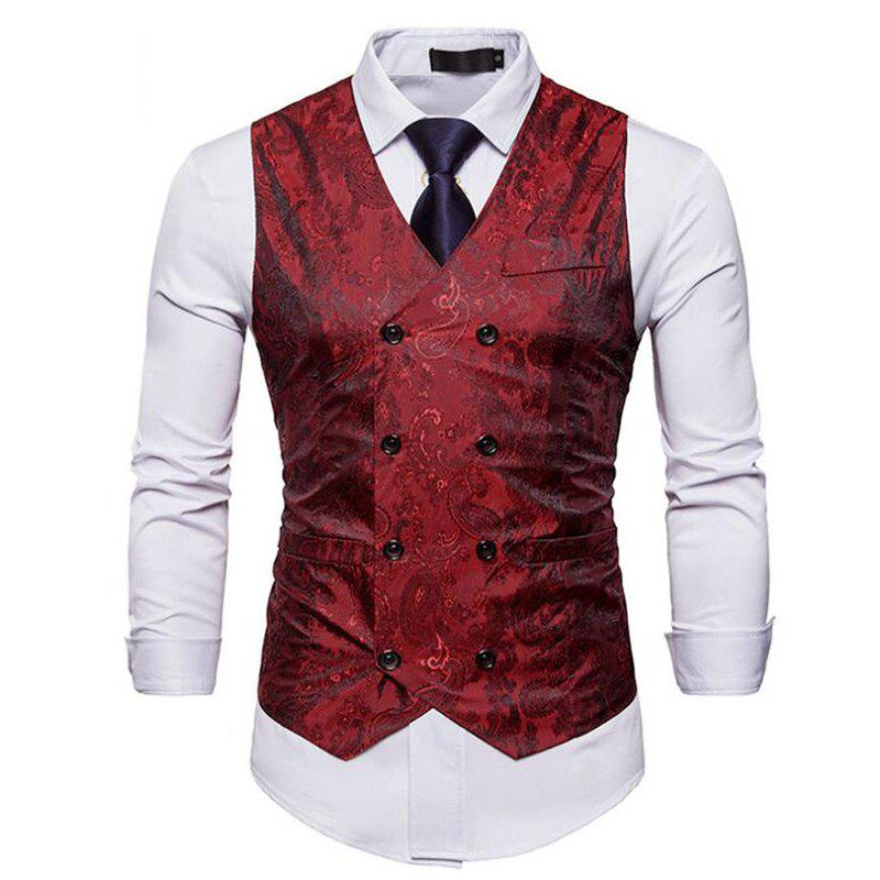 Men Suit Vest Burgundy Jacquard V Neck Sleeveless Jacket Front Button Waistcoat - RED 2XL