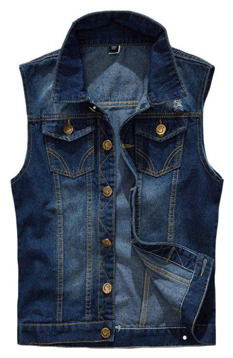Men's  Solid Color Sleeveless Turn Down Collar Pocket Casual Waistcoat - DEEP BLUE XL