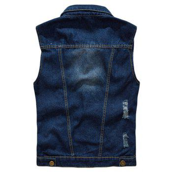 Men's  Solid Color Sleeveless Turn Down Collar Pocket Casual Waistcoat - DEEP BLUE 3XL