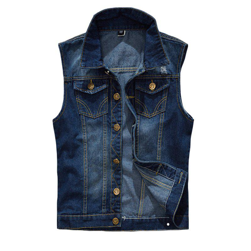 Men's  Solid Color Sleeveless Turn Down Collar Pocket Casual Waistcoat - DEEP BLUE 4XL