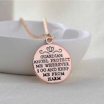 Fashion Round Letter Guardian Angel Necklace - GOLDEN