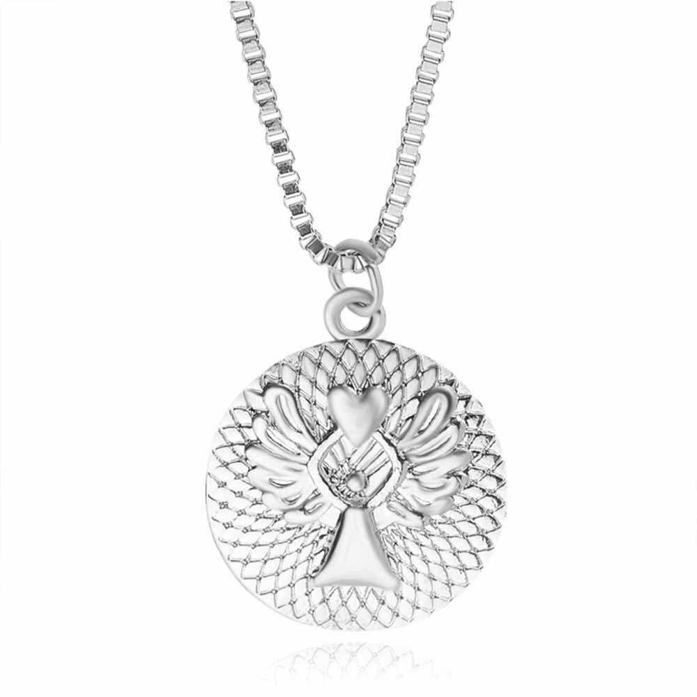 Fashion Round Letter Guardian Angel Necklace - SILVER