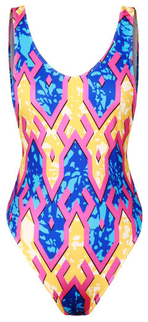 3D Print Swimwear Sexy Backless Bikini Bathing Suit - multicolorCOLOR ONE SIZE(FIT SIZE XS TO M)