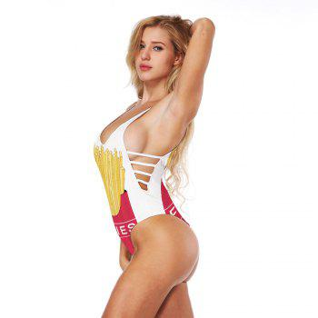Fashion French Fries 3D Digital Print Swimwear Sexy Backless Bikini Bathing Suit - multicolorCOLOR L