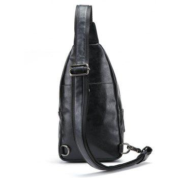 Fashion Men Sling Bag Fashion Casual Unbalance Backpack Small Chest Pack - BLACK
