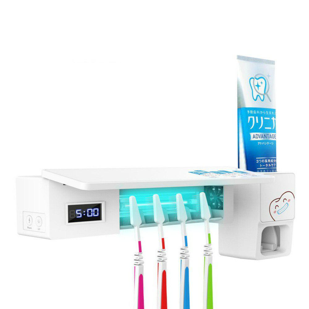 LY - S138 2 in 1 Toothbrush Sterilizer UV Creative Automatic Toothpaste Squeeze Machine Holder - WHITE