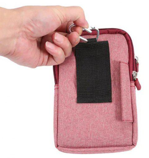 New Denim Leather Cell Phone Bag Pouch Waist Purse Case Cover for Smart Phone - LIGHT RED
