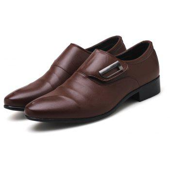 ZEACAVA Men Large Size Pointed Toe Metal Buckle Business Casual Leather Shoes - DEEP BROWN 48