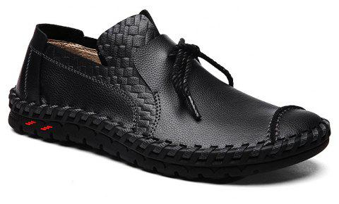 ZEACAVA Men's Stitching Soft Sole Lace Up Decoration Casual Driving Loafers - BLACK 43