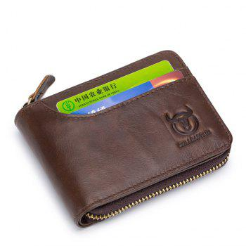The Cow Ceather New Head Layer Cowhide Multi-Function Card Three Folding Driving License A Zipper Leather Wallet - BROWN