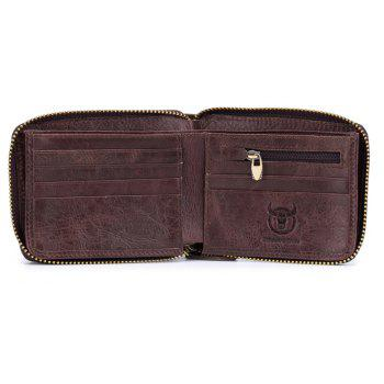 The Cow Ceather New Head Layer Cowhide Multi-Function Card Three Folding Driving License A Zipper Leather Wallet - BURGUNDY