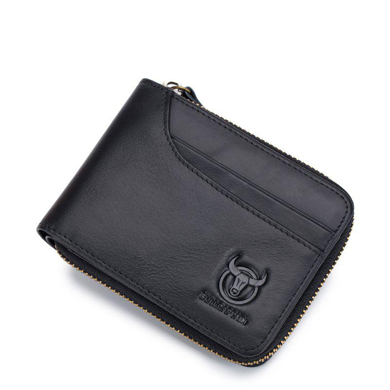 The Cow Ceather New Head Layer Cowhide Multi-Function Card Three Folding Driving License A Zipper Leather Wallet - BLACK