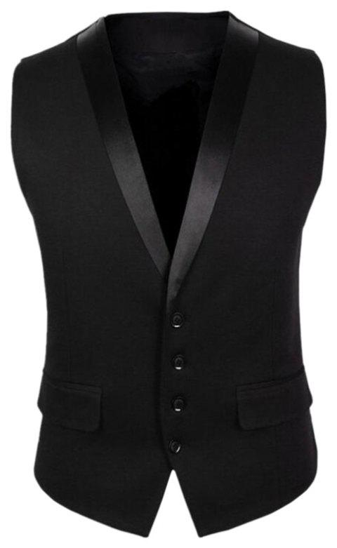 Jacket Men V Neck Regular Fit Vest - BLACK L