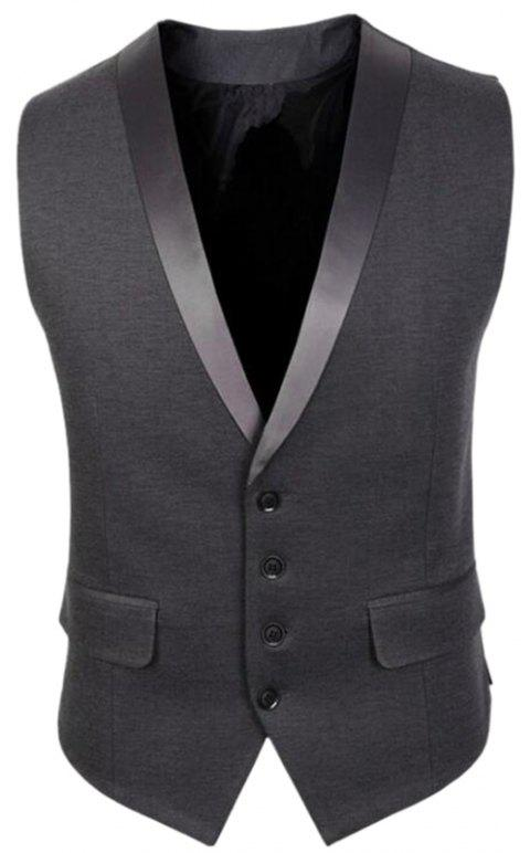 Veste Hommes V Neck Regular Fit Gilet - Gris XL