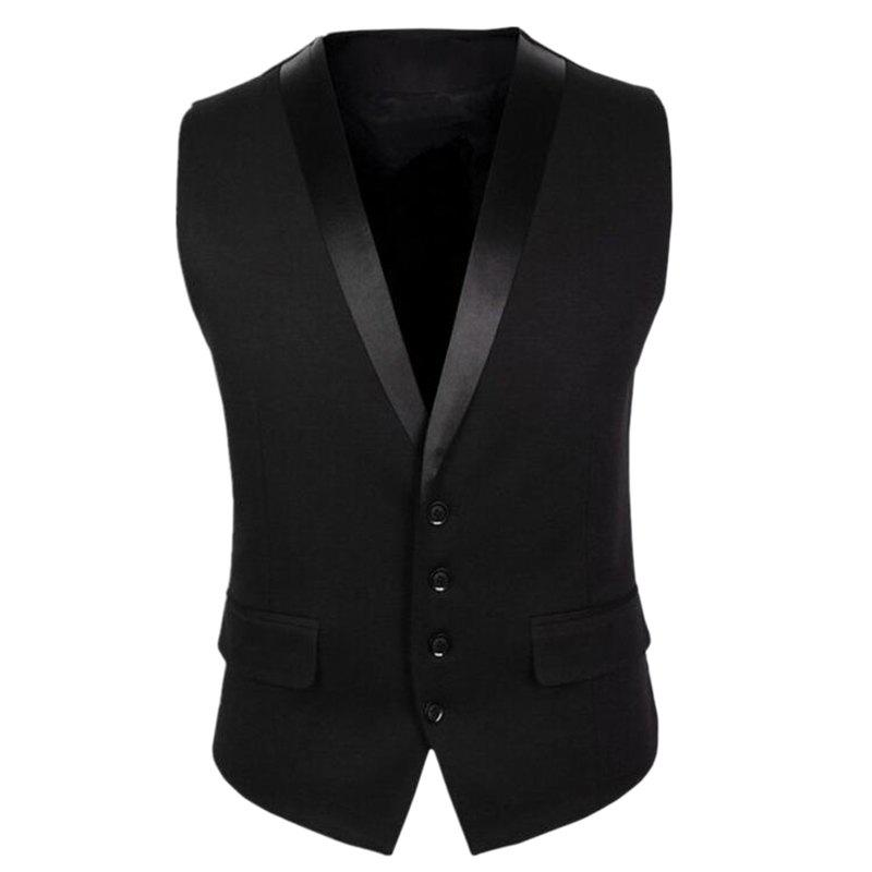 Jacket Men V Neck Regular Fit Vest - BLACK XL