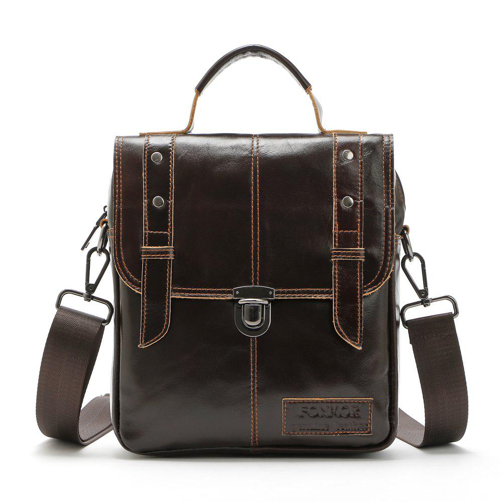 Brand Fashion Men  Genuine Leather Shoulder Bags High Quality Briefcases for Men Business Tote - BROWN