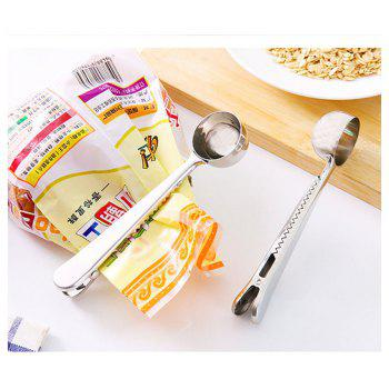 Stainless Steel Coffee Ice Cream Spoon with Clip - SILVER