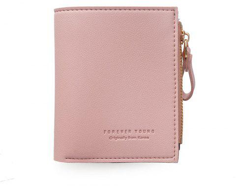 Small Purse Female Short Paragraph Fresh and Slim Personality Multi-functional Folding Student - PINK