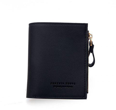 Small Purse Female Short Paragraph Fresh and Slim Personality Multi-functional Folding Student - BLACK
